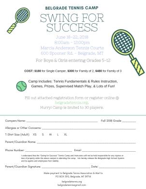 Swing for success registration form